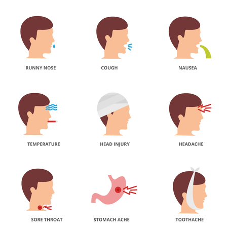 Illness set of vector icons