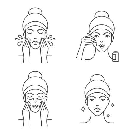 Skin care apply facial serum icons Illustration