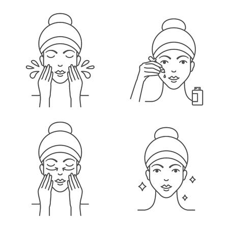 Skin care apply facial serum icons Vectores