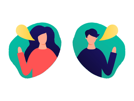 Woman and man with speaking bubble vector illustration Stock Photo