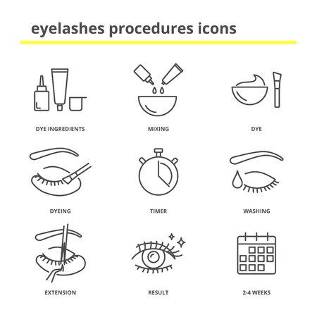 Eyelashes procedures icons set Illusztráció
