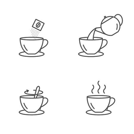 Iconos de preparación de café instantáneo, ilustración vectorial
