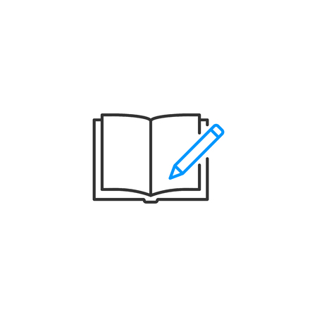 Copywriting, open textbook with pencil icon, vector illustration
