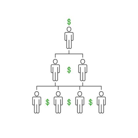 Financial pyramid, network marketing illustration