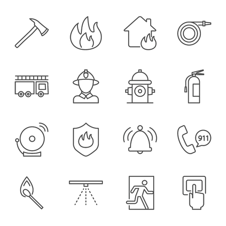 Firefighting vector icons set