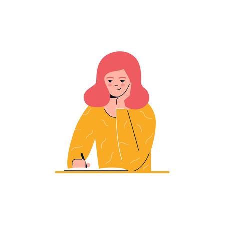 Chica está escribiendo, educación, aprendiendo ilustración vectorial