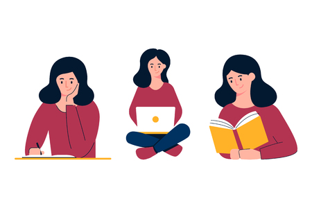Chica estudiando ilustración vectorial. Escribir, trabajar en la computadora portátil, leer. Concepto de educación Ilustración de vector