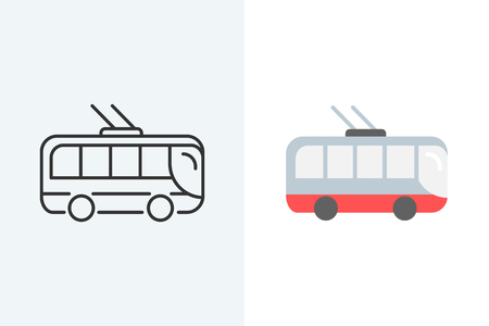 Trolleybus flat and outline style icon