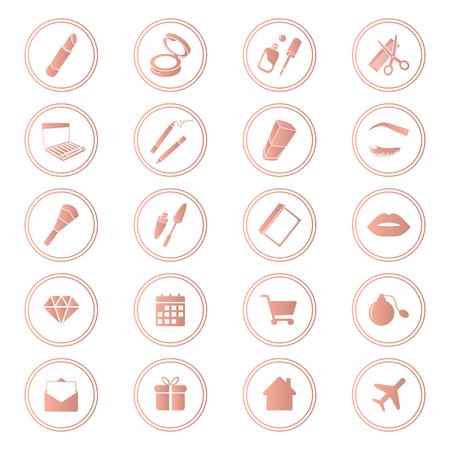Beauty shop icons, makeup and cosmetics set, rose gold color Ilustração