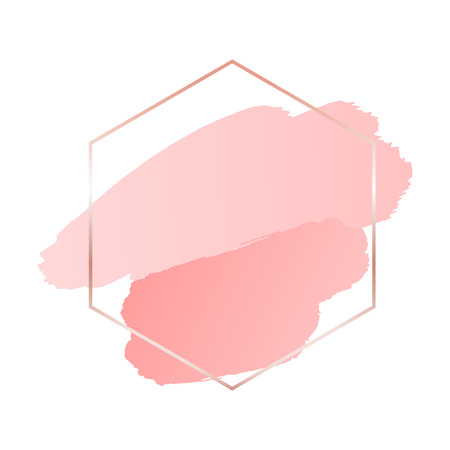 Abstract pink brush background with hexagon geometric frame rose gold color