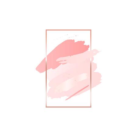 Fond abstrait pinceau rose avec cadre géométrique rectangle vertical couleur or rose