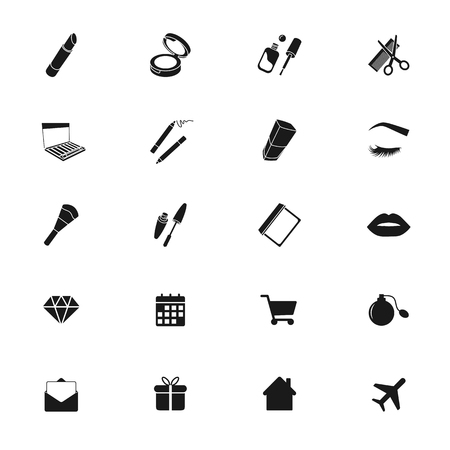 Beauty shop icons, makeup and cosmetics set, black silhouettes