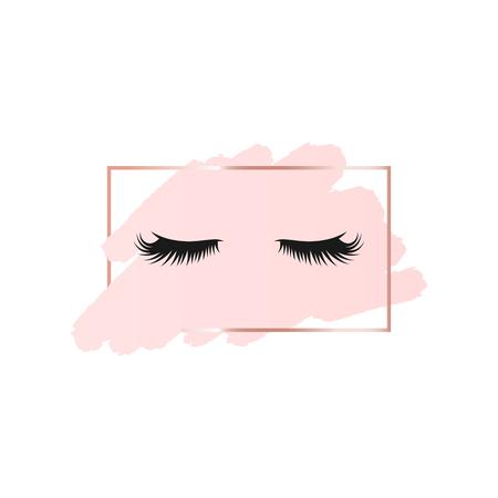 Ciglia su sfondo astratto pennello rosa con cornice geometrica rettangolare color oro rosa. Sfondo del logo per la bellezza
