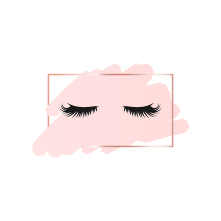 Lashes on abstract pink brush background with rectangle geometric frame rose gold color. Logo background for beauty Vettoriali