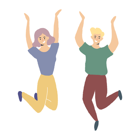 People jumping vector illustration, woman and man characters Illustration
