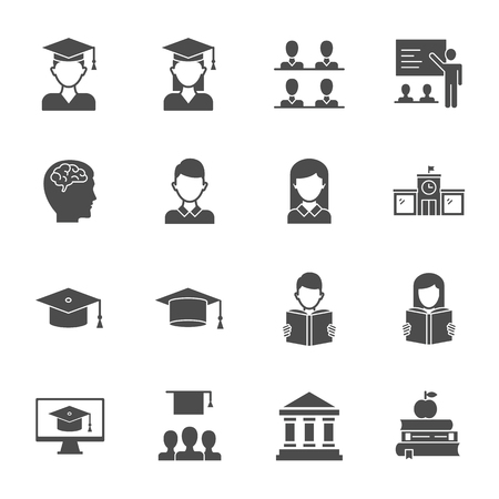 Students, education set of vector icons silhouettes