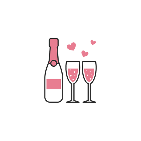 Champagne and two glasses icon 일러스트