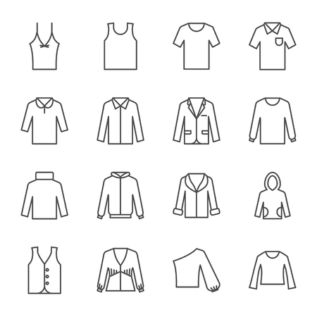 Top clothing vector icons set