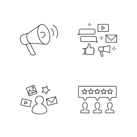 Promotion, marketing, social media, user reviews vector icons