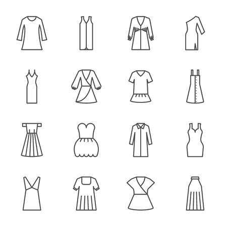 Dresses vector icons set 일러스트