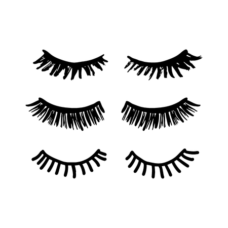 Eyelashes vector hand drawn illustration