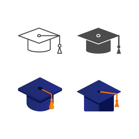 Contorno de icono de gorra de graduación, silueta, estilos isométricos, planos