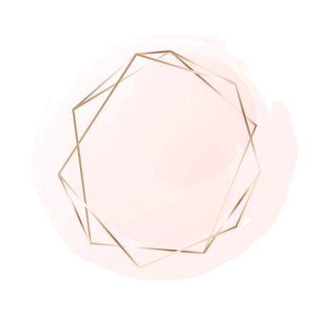 Montatura in oro rosa con sfondo rosa pastello. Sfondo del logo per la bellezza e la moda Logo