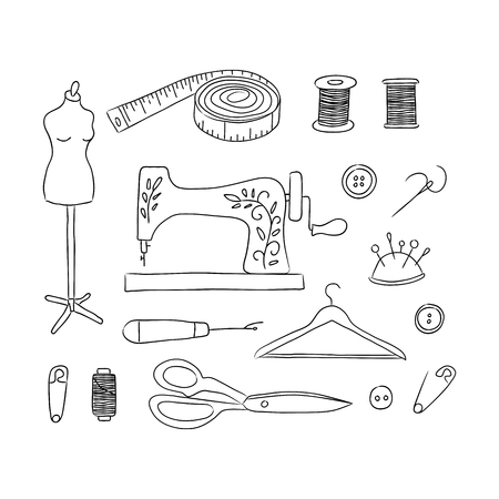 Sewing kit hand drawn icons