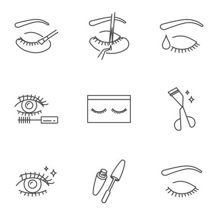 Extension de cils, cosmétiques et maquillage ensemble d'icônes vectorielles