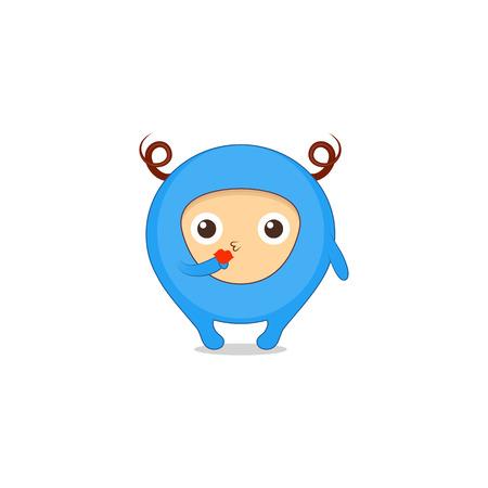 Kiss sticker, emoji, character design