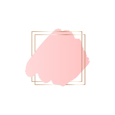 Abstract pink brush background with square geometric frame. Logo background for beauty and fashion