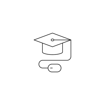E-learning, distant education vector icon, outline style, editable stroke Ilustração