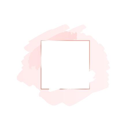Sfondo astratto pennello rosa con cornice geometrica quadrata color oro rosa. Sfondo del logo per la bellezza e la moda