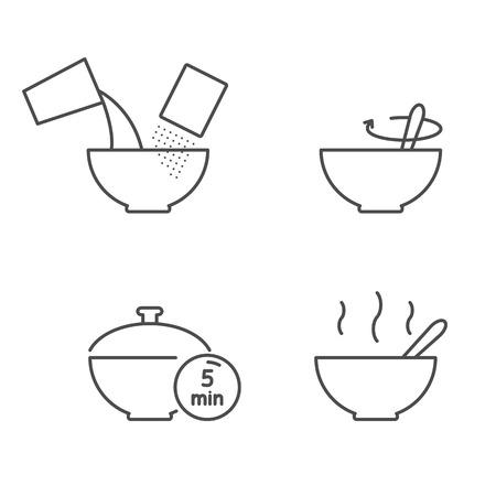 Instrucciones de cocina para preparar cereales, avena, copos de iconos vectoriales
