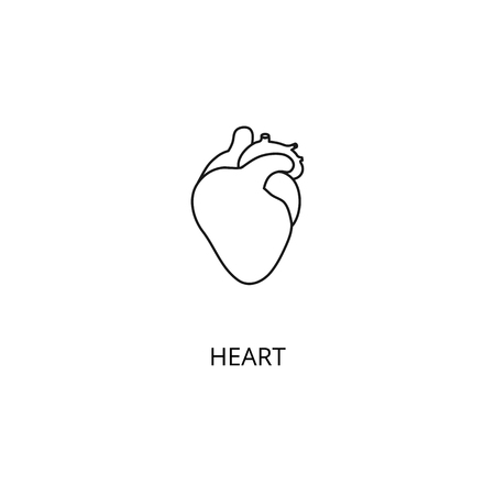 Heart organ of the human body vector icon, outline style, editable stroke