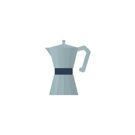 Metallic coffee pot flat vector icon Иллюстрация