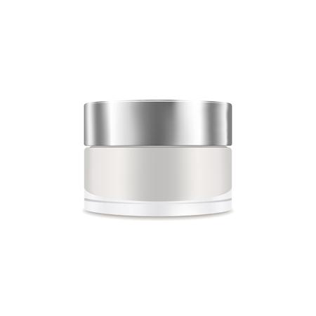 Contenitore crema realistico vuoto bianco. Mockup, pacchetto cosmetico, illustrazione vettoriale barattolo