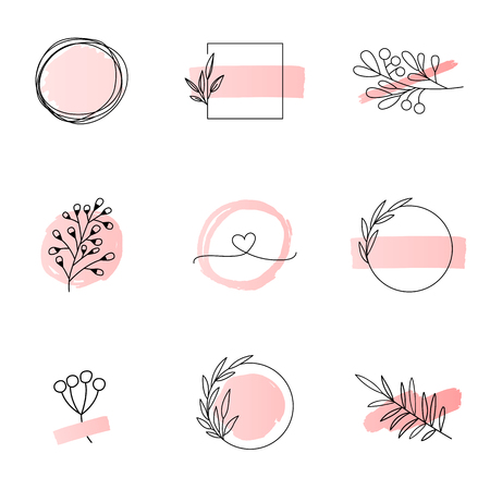 Floral logo templates feminine style Ilustração