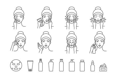Icônes vectorielles de soins de la peau du visage