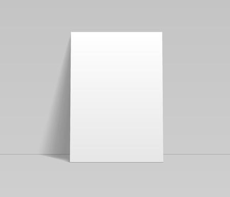 Leeres weißes Blatt Papier, das sich an die Wandschablone lehnt, Vektormodell Vektorgrafik