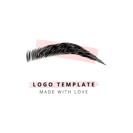 Het vectorlogo voor de wenkbrauwbalk voor schoonheidsstudio Logo