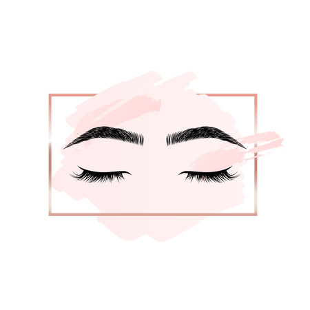 Eyelashes and eyebrows logo on pink background with rectangle geometric frame
