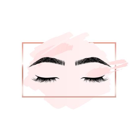 Logo de cils et sourcils sur fond rose avec cadre géométrique rectangle