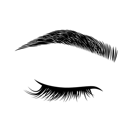 Eyelashes and eyebrows vector logo