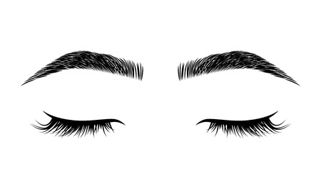 Eyelashes and eyebrows vector logo for beauty studio