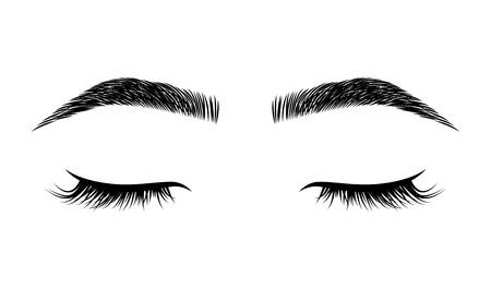 Eyelashes and eyebrows vector logo for beauty studio