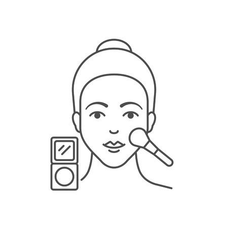 Illustration vectorielle de femme applique de la poudre pour le visage, style plat