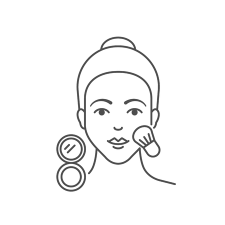 Vector illustration of woman is applying blush, flat style