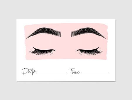 Beauty salon, the brow bar, lashes appointment card template 向量圖像