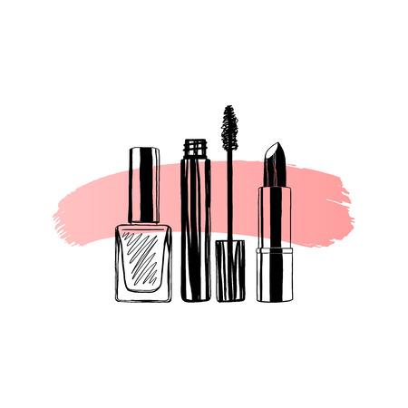 Bandera de maquillaje esmalte de uñas, rímel, lápiz labial. Ilustración de vector dibujado a mano